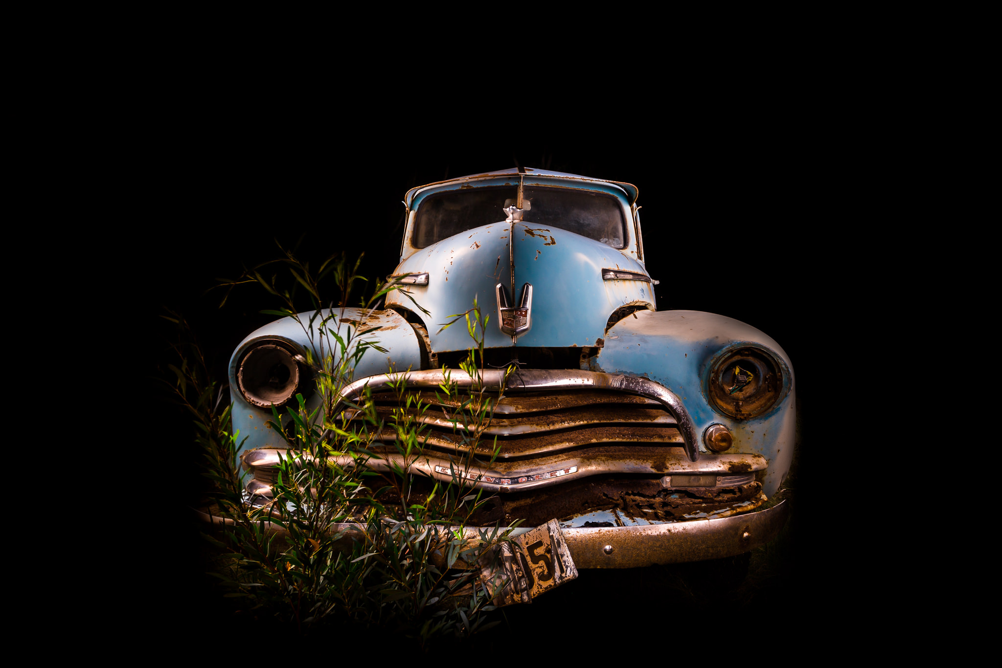 Automotive photography of Chevrolet 1950's Front Grill at Night