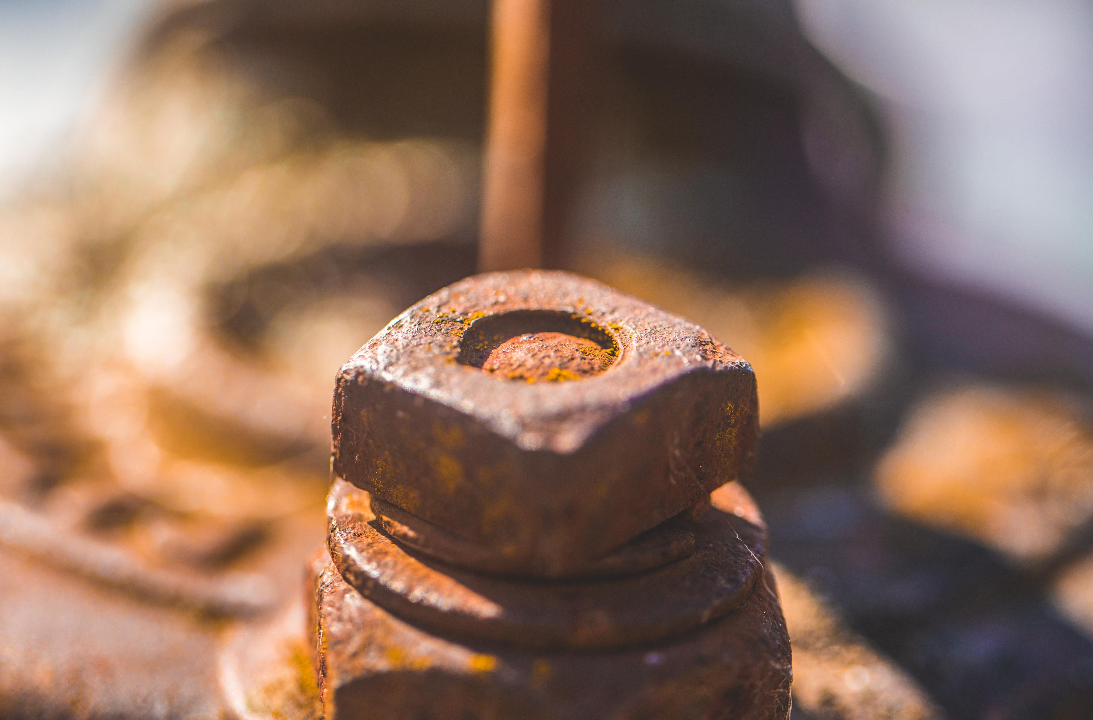 Closeup of a rusting bolt