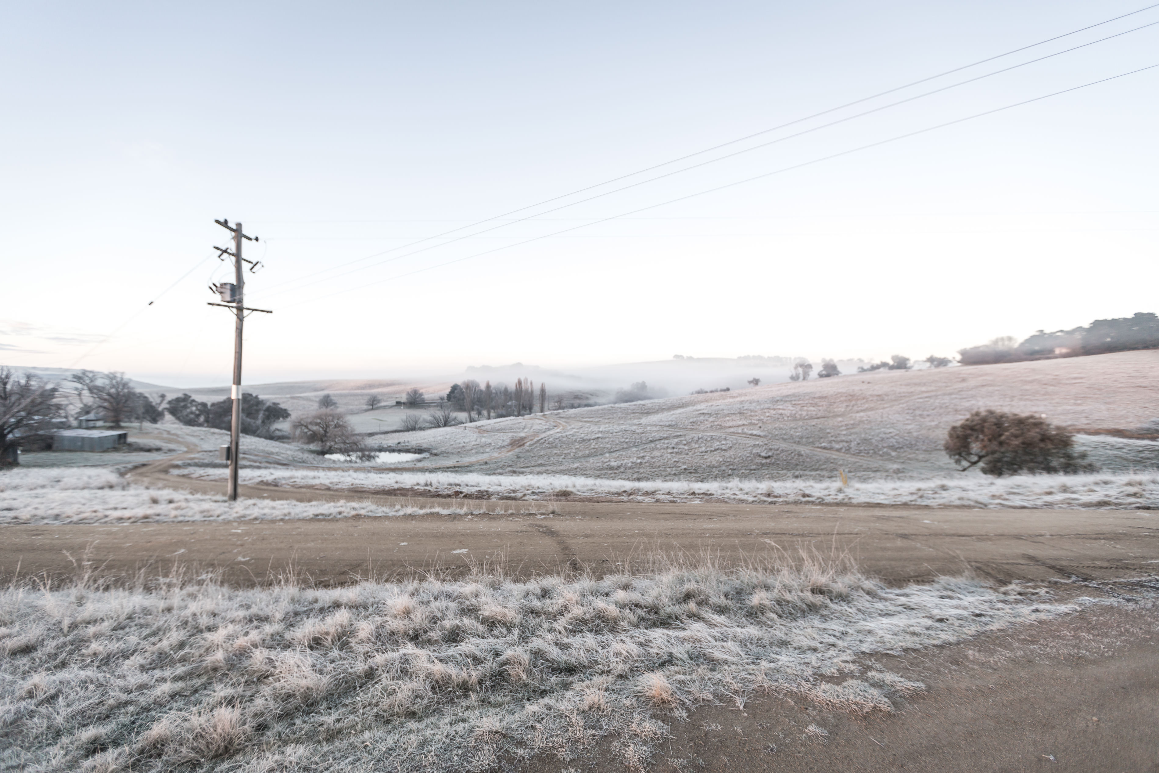 Early morning frost overlooking the sheep station at crookwell