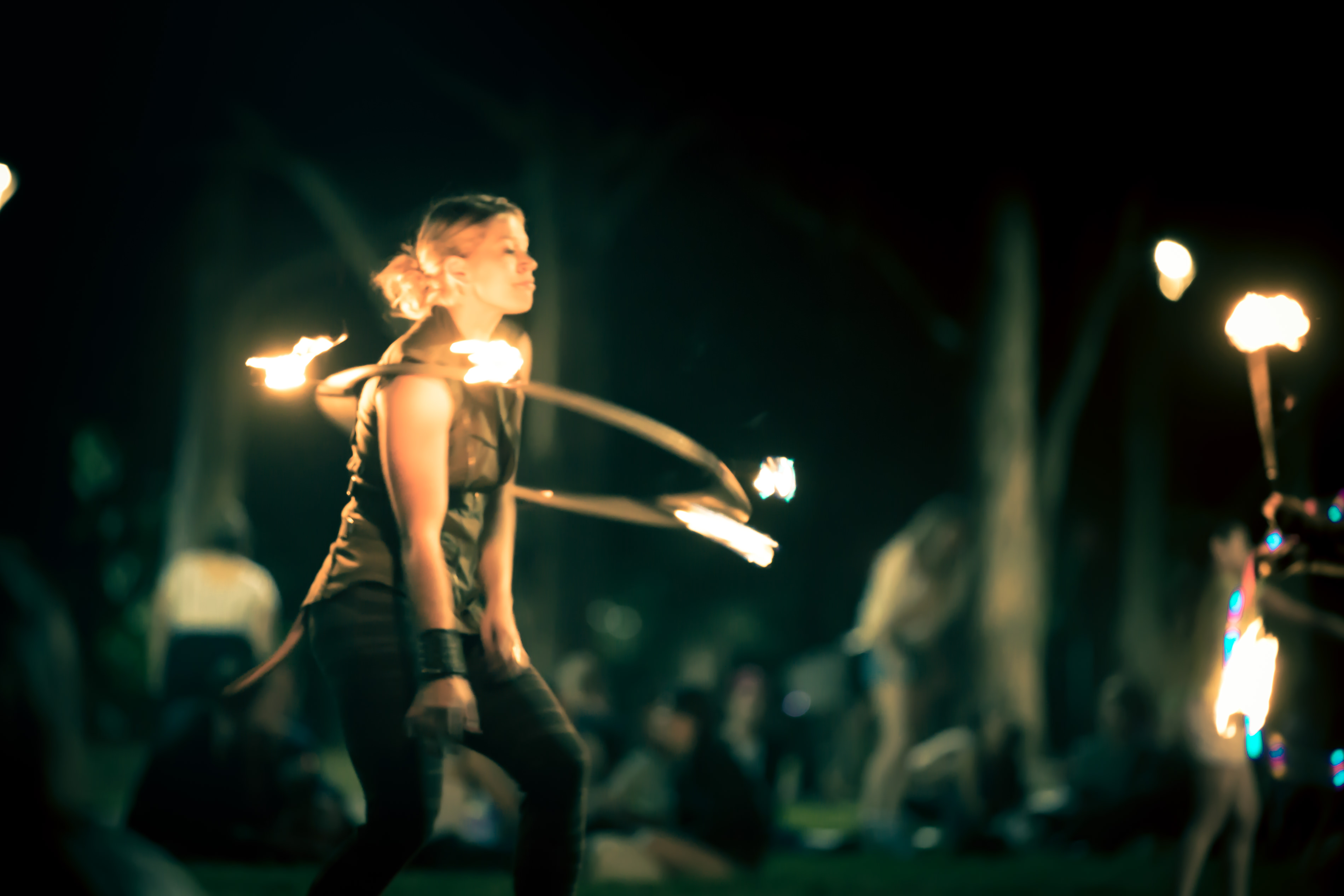 Newtown Fire Twirling with a Flaming Hula Hoop in Camperdown Memorial Park