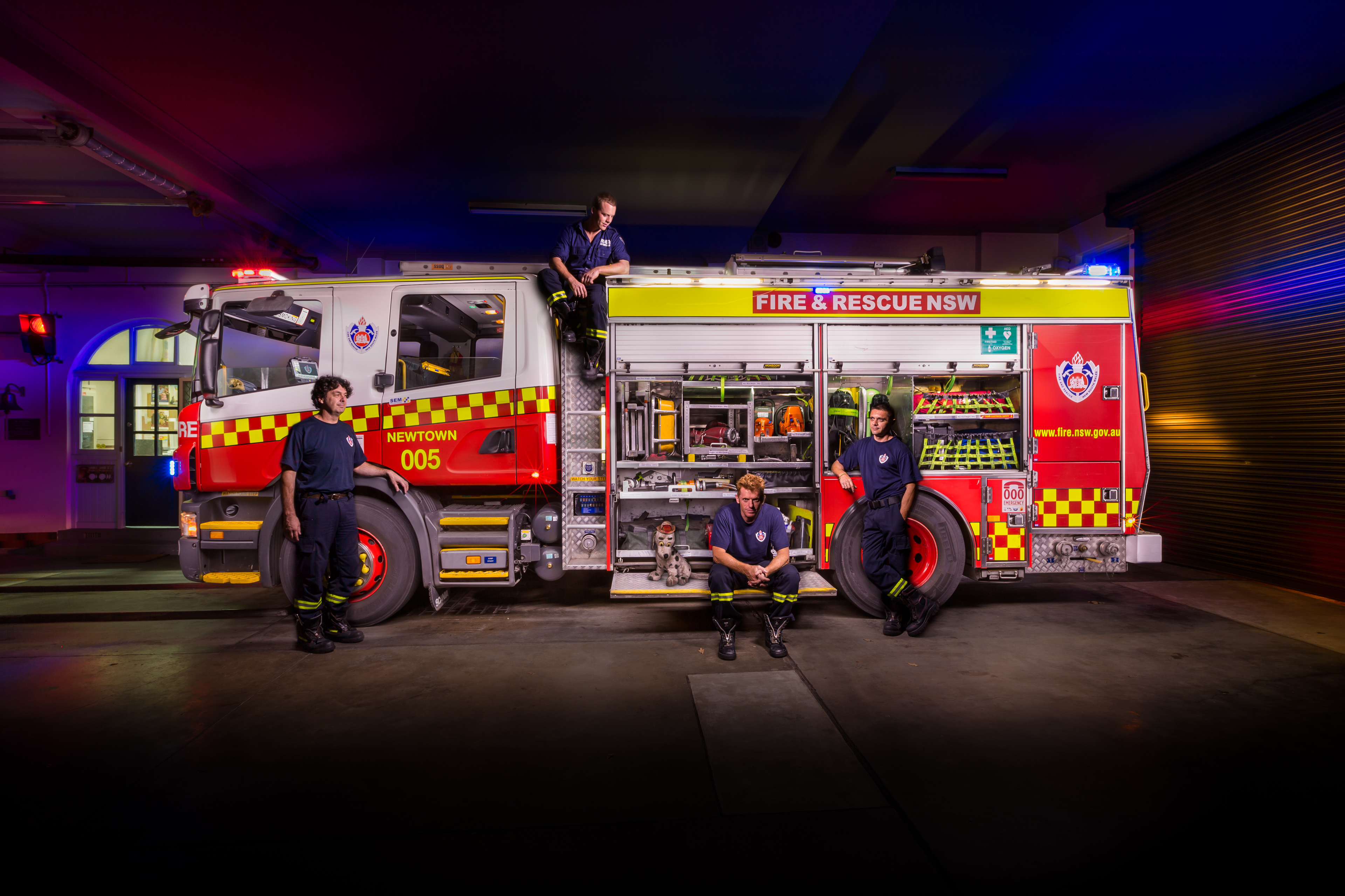 Automotive photography of Newtown Firetruck and Platoon