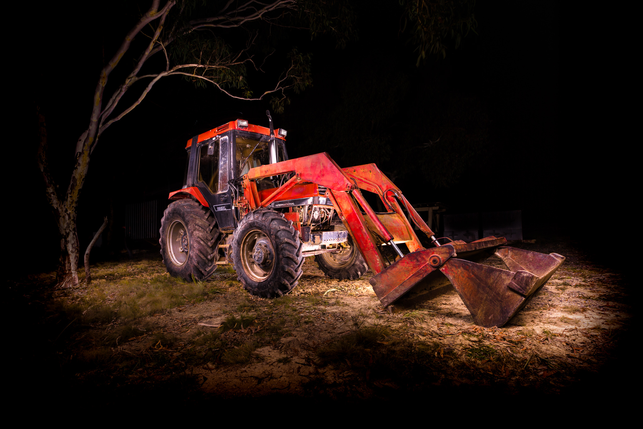 Automotive photography of Case Tractor at Night using long exposure
