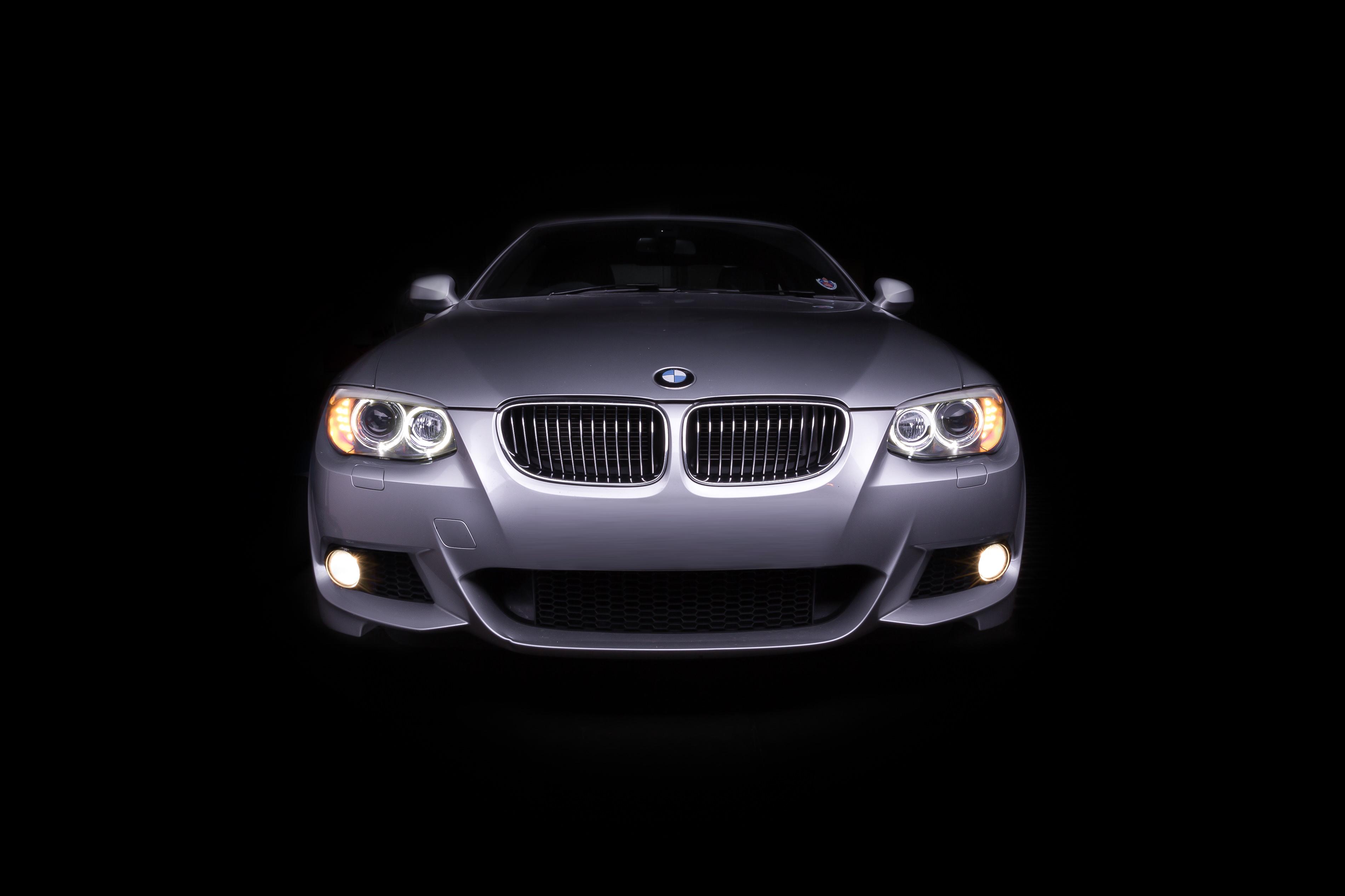 Light painted bonnet of BMW m235i automotive photography