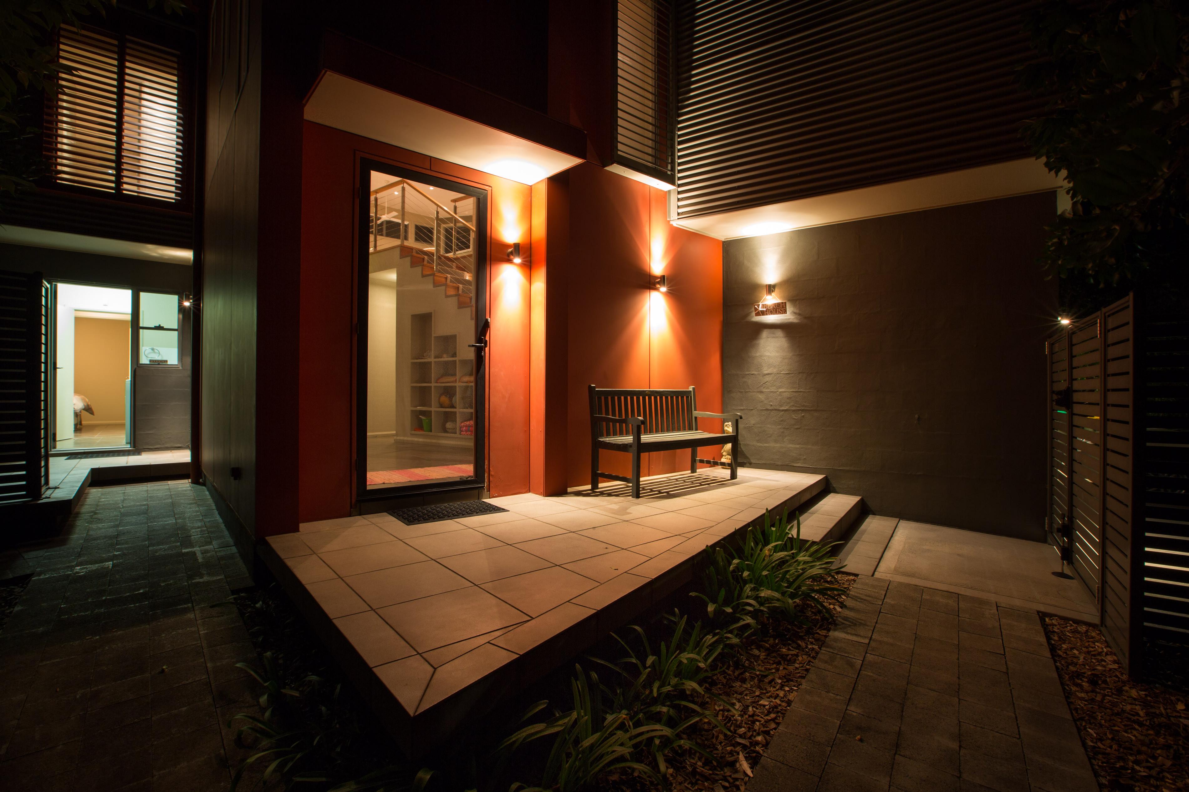Black Diamond Beach House Dramatic Entryway Night Real Estate Photography