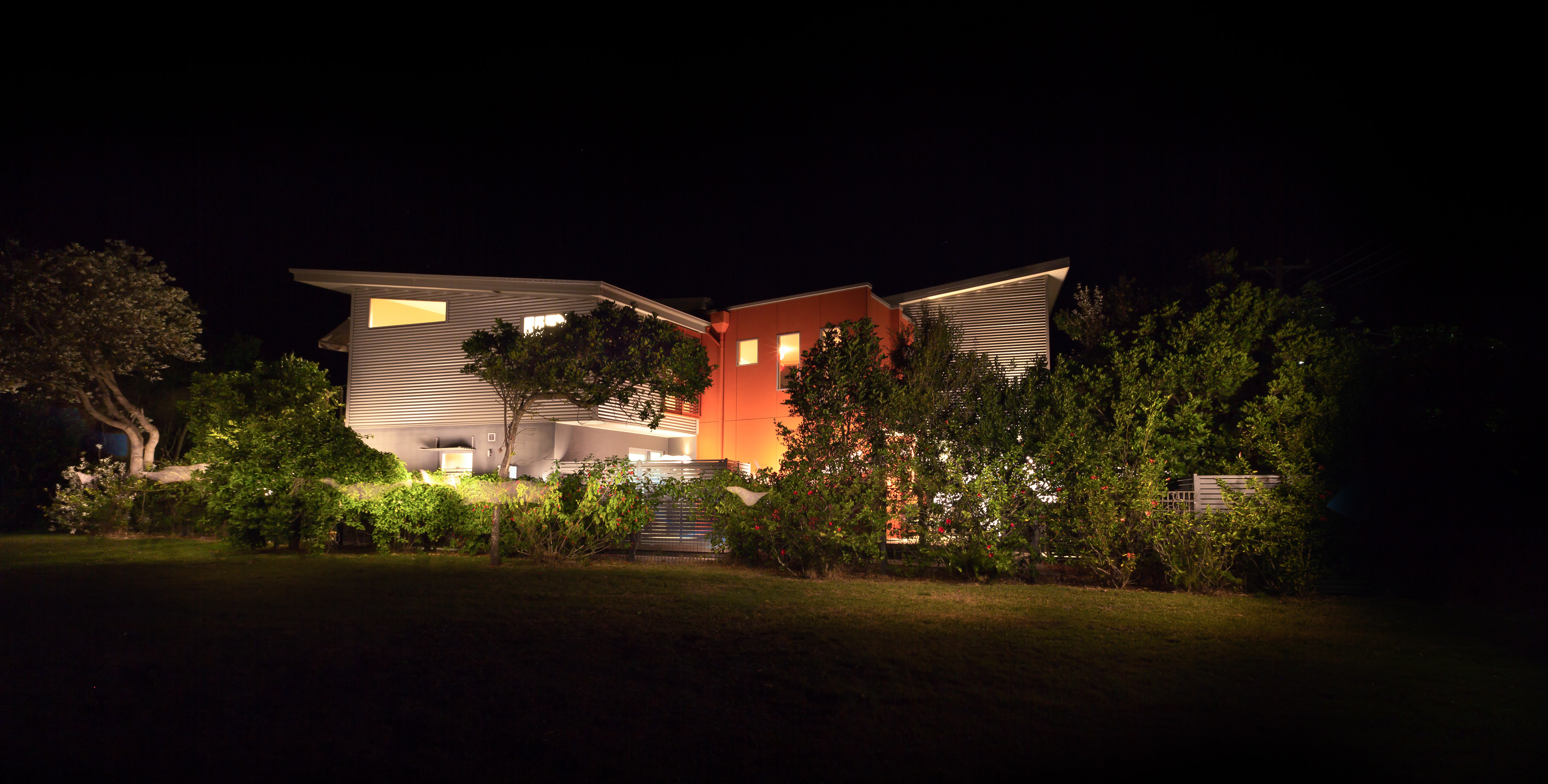 Black Diamond Beach House Frontage Dramatic Night Real Estate Photography