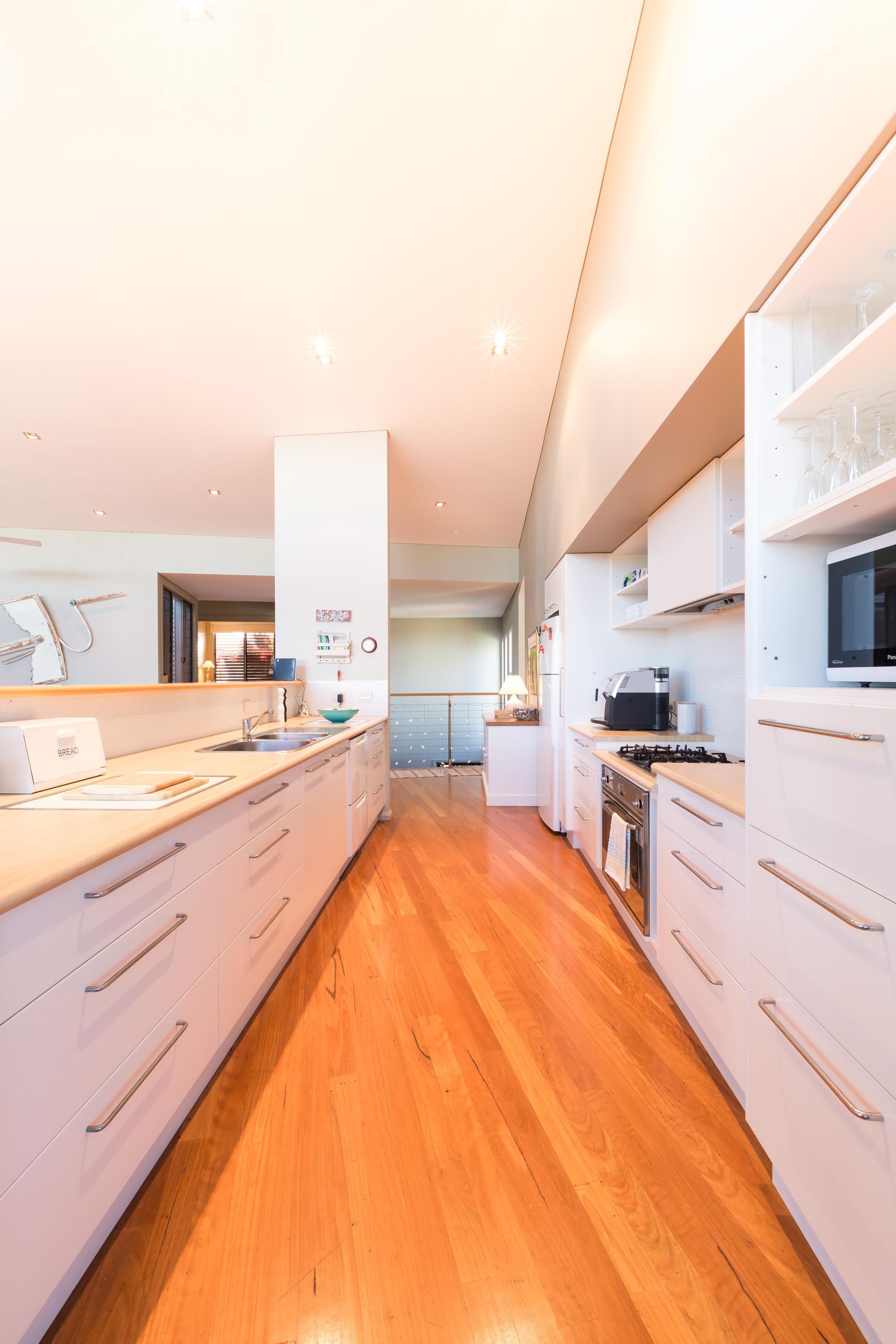 Black Diamond Beach House Galley Kitchen, Real Estate Photography
