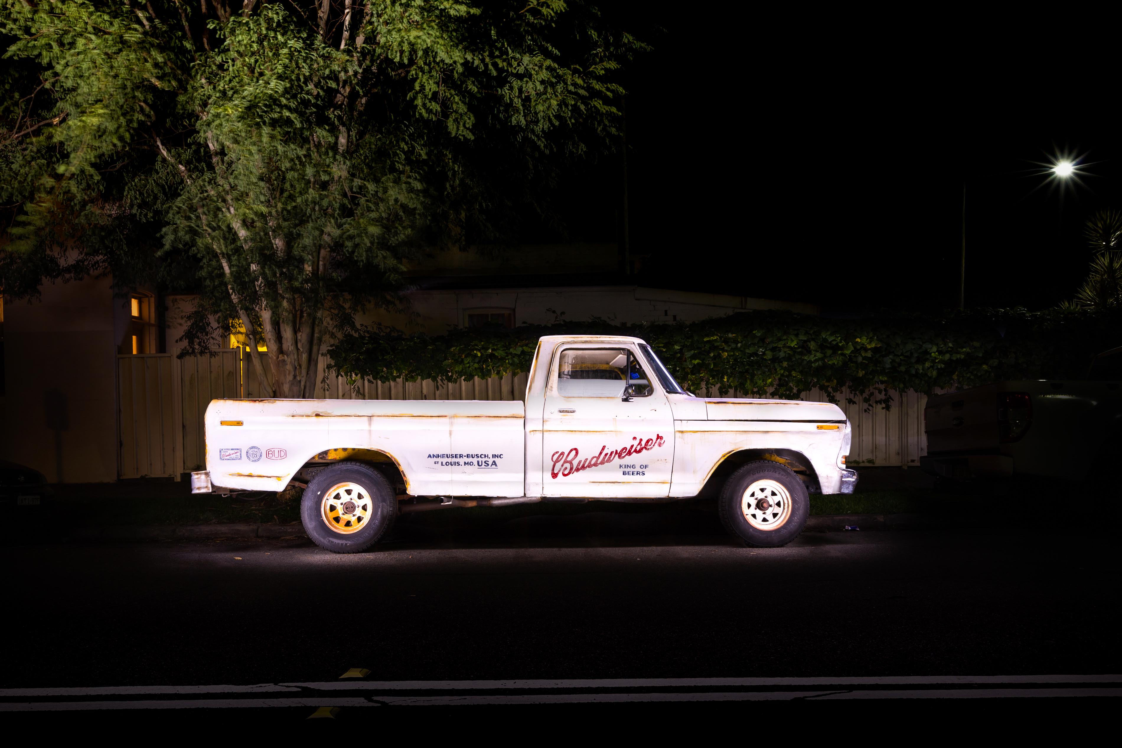 Budweiser F150 Truck Long Exposure night automotive photography & light painting