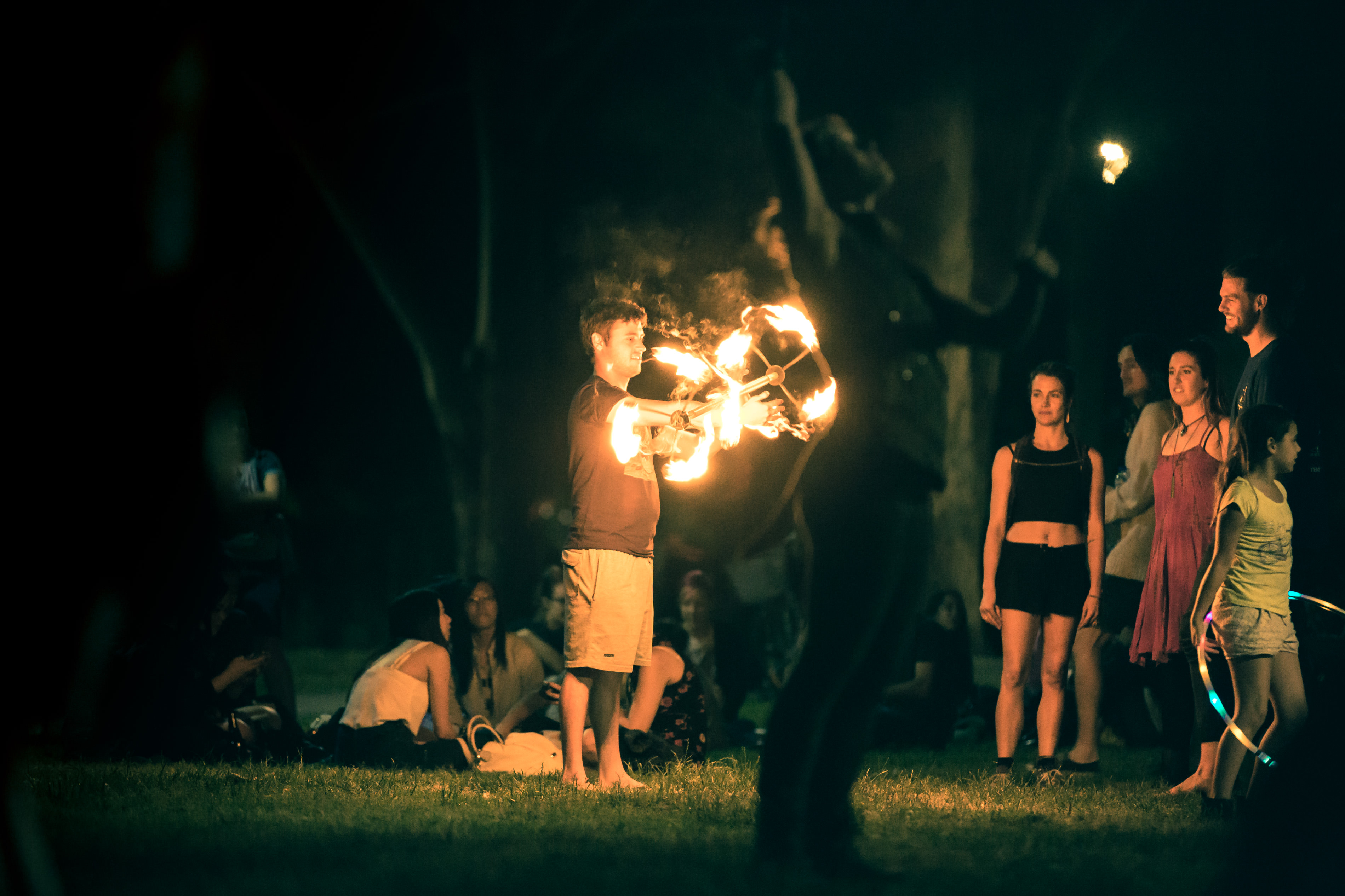 Newtown Fire Twirling with a Flaming Staff in Camperdown Memorial Park