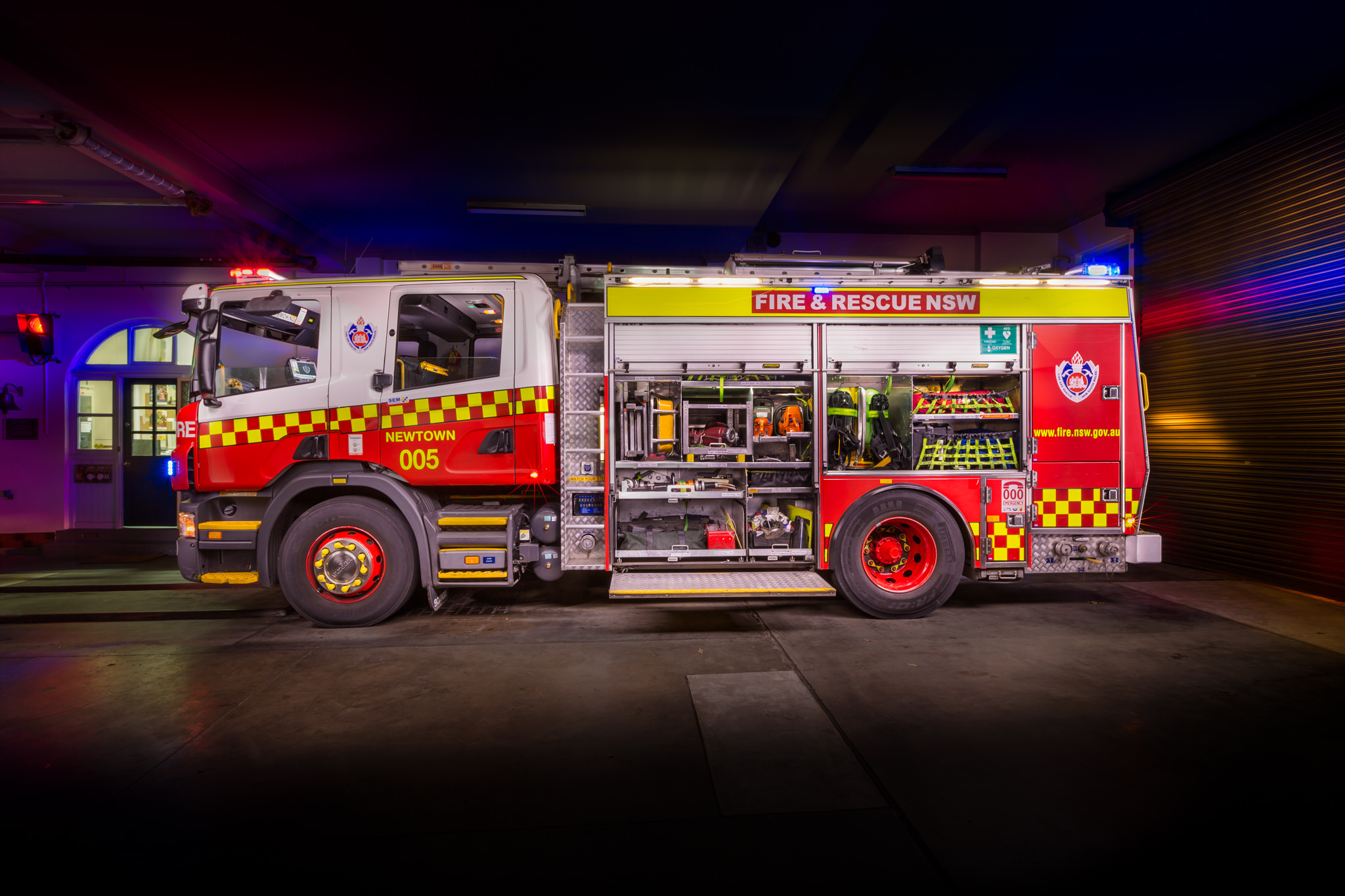 Automotive photography of Newtown Fire Station Fire Engine