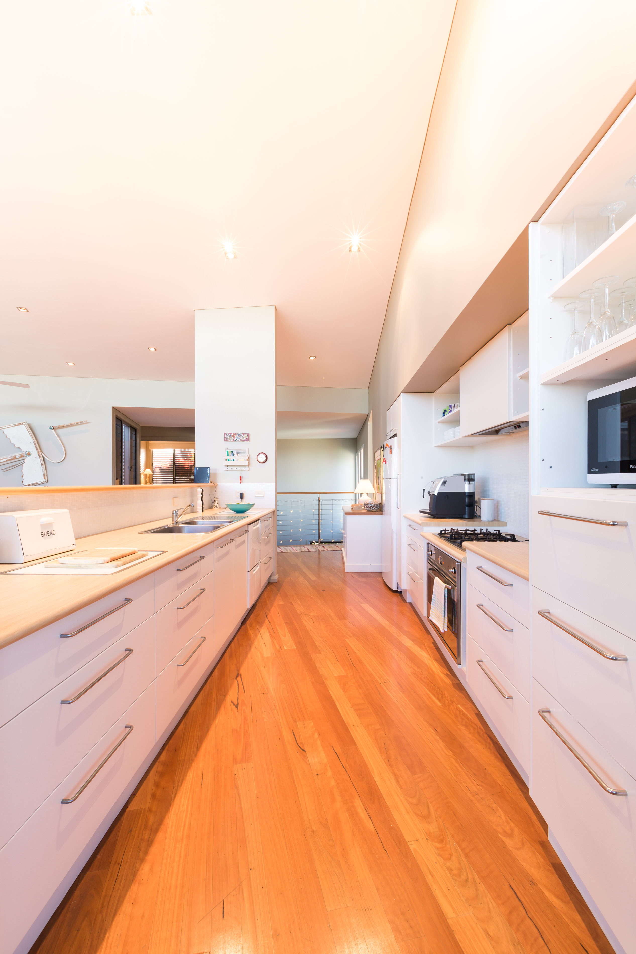Black Diamond Beach House Galley Kitchen, Real Estate Photography